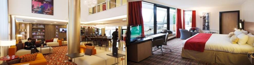 COURTYARD BY MARRIOTT PARIS BOULOGNE 113 chambres dont 85 standards, 22 business et 6 supérieures Parking privé Restaurant Oleo Pazzo et son patio Lobby Bar Le Cent Quatorze Le Cent Quatorze up on