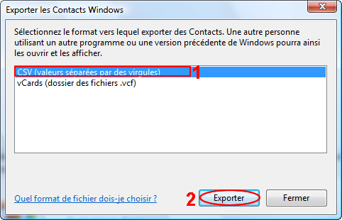 J - Exporter / Importer le carnet d'adresses sous Windows Mail 1.