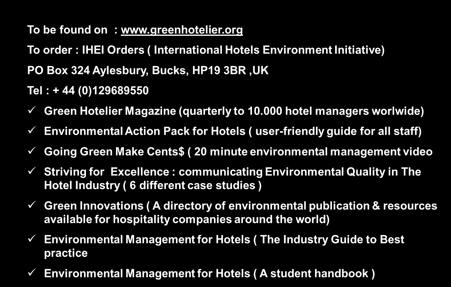 GREEN HOTELIER PUBLICATION IHEI JOURNEES