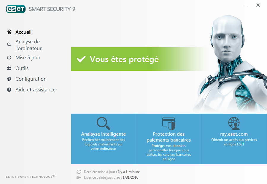 Pour ouvrir ESET Smart Security, double-cliquez sur l'icône niveaux de protection de votre ordinateur. ESET Smart Security située dans la zone de notification Windows (partie système).