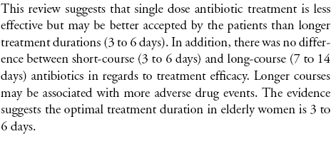 Antibiotic duration for treating uncomplicated, symptomatic
