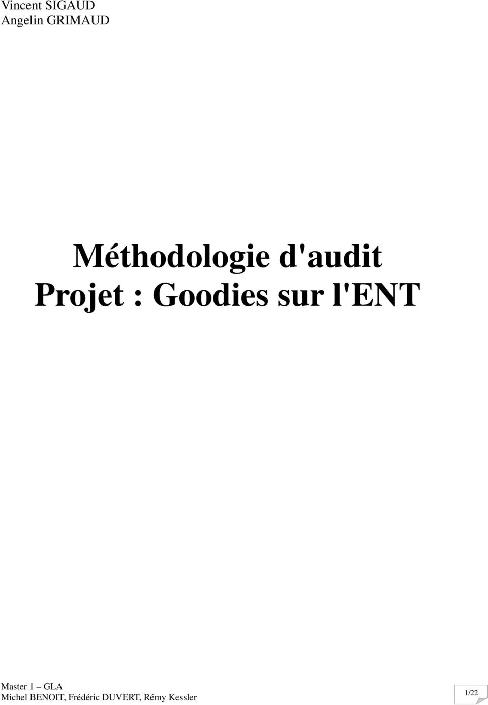 Méthodologie d'audit