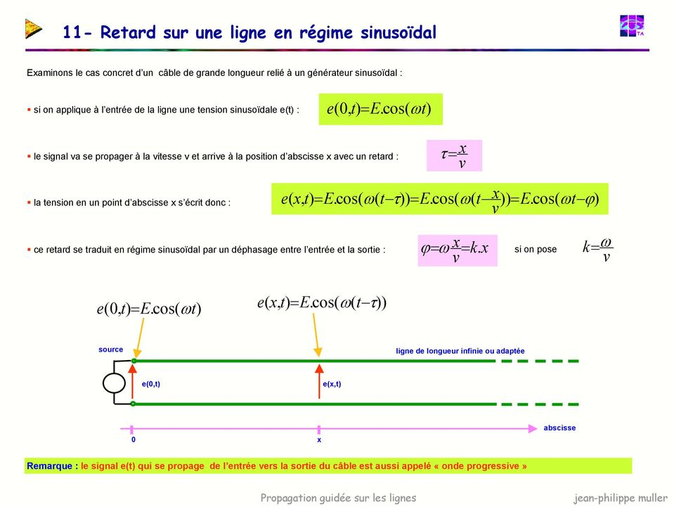 cos( ω le signal va se propager à la vitesse v et arrive à la position d abscisse x avec un retard : τ= v x la tension en un point d abscisse x s écrit donc : e( x, = E.cos( ω( t τ)) = E.