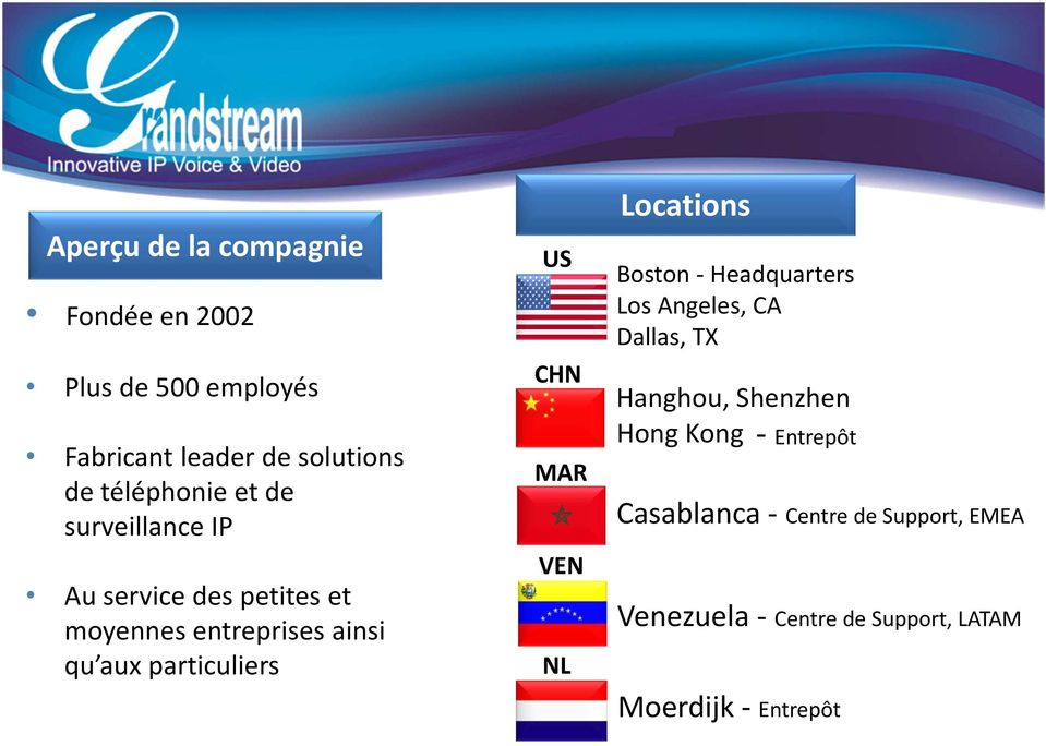particuliers US CHN MAR VEN NL Locations Boston Headquarters Los Angeles, CA Dallas, TX Hanghou,