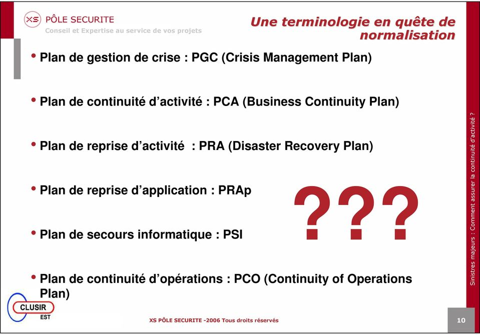 reprise d activité : PRA (Disaster Recovery Plan) Plan de reprise d application : PRAp Plan