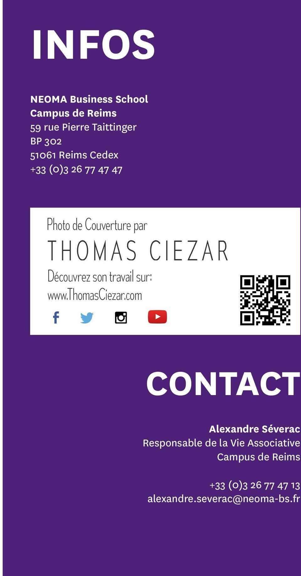 CONTACT Alexandre Séverac Responsable de la Vie Associative