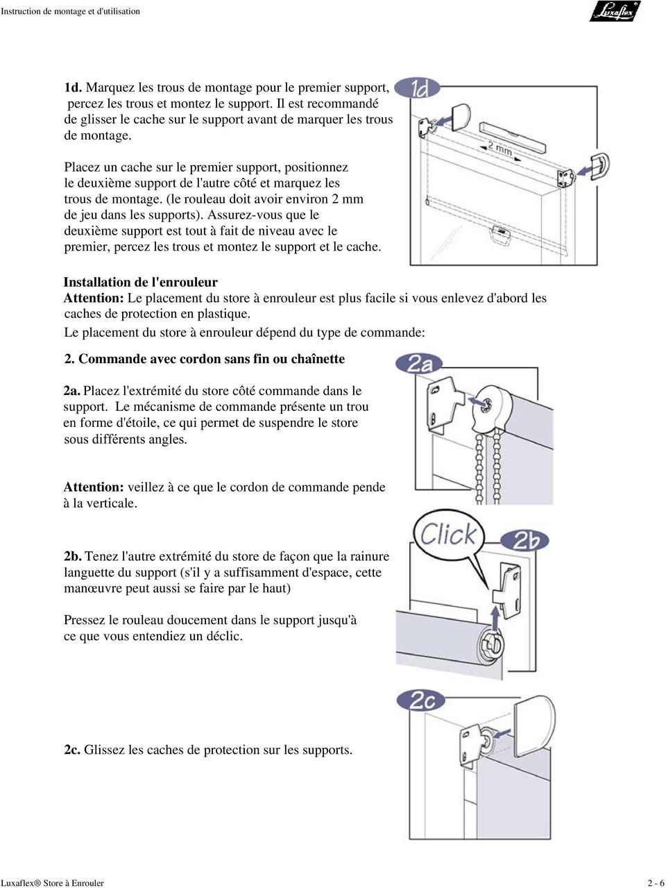 instruction de montage et d 39 utilisation luxaflex store enrouler pdf. Black Bedroom Furniture Sets. Home Design Ideas