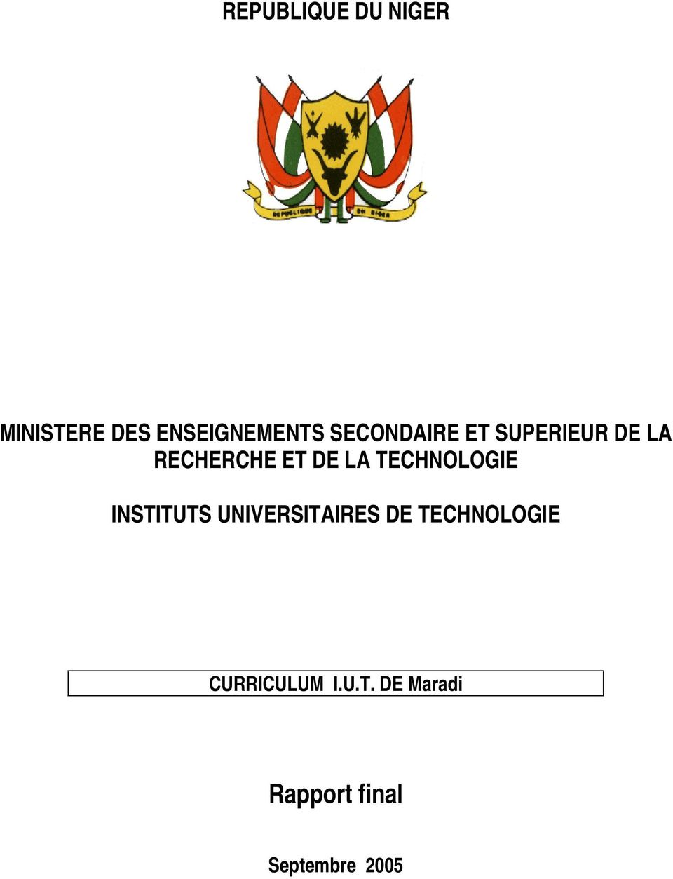 TECHNOLOGIE INSTITUTS UNIVERSITAIRES DE TECHNOLOGIE