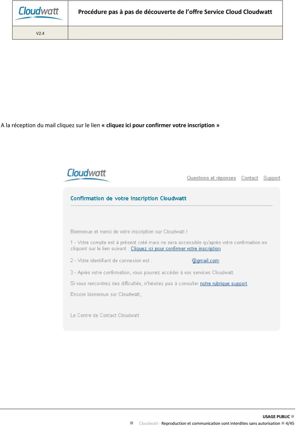 inscription» Cloudwatt - Reproduction et