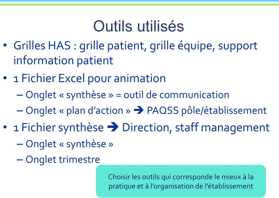 PAQSS pôle/établissement 1 Fichier synthèse Direction, staff management Onglet «synthèse» Onglet