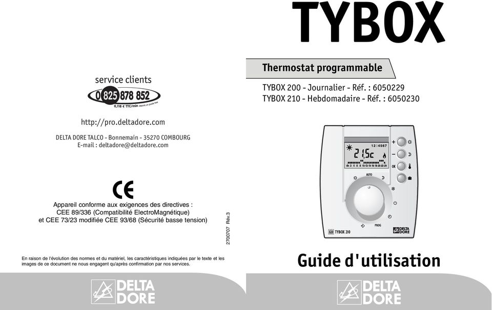 mode d 39 emploi thermostat delta dore tybox 120. Black Bedroom Furniture Sets. Home Design Ideas