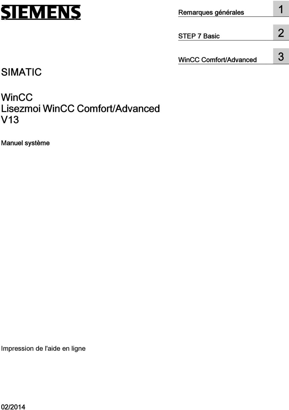 Lisezmoi WinCC Comfort/Advanced V13