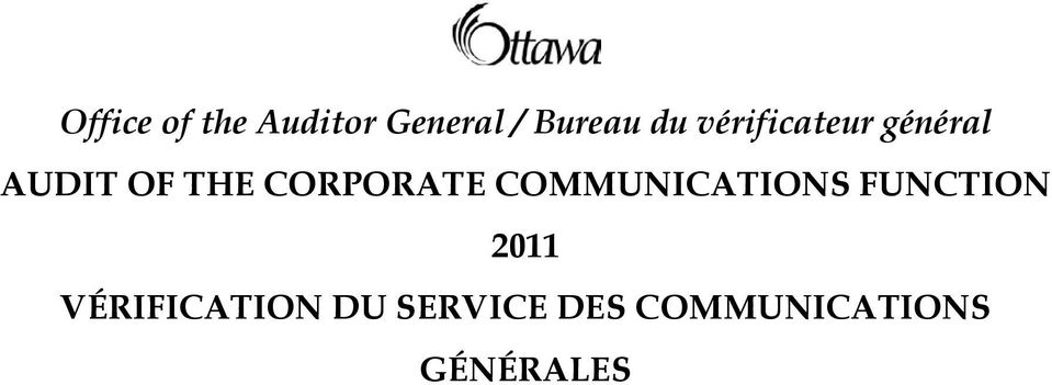 CORPORATE COMMUNICATIONS FUNCTION 2011