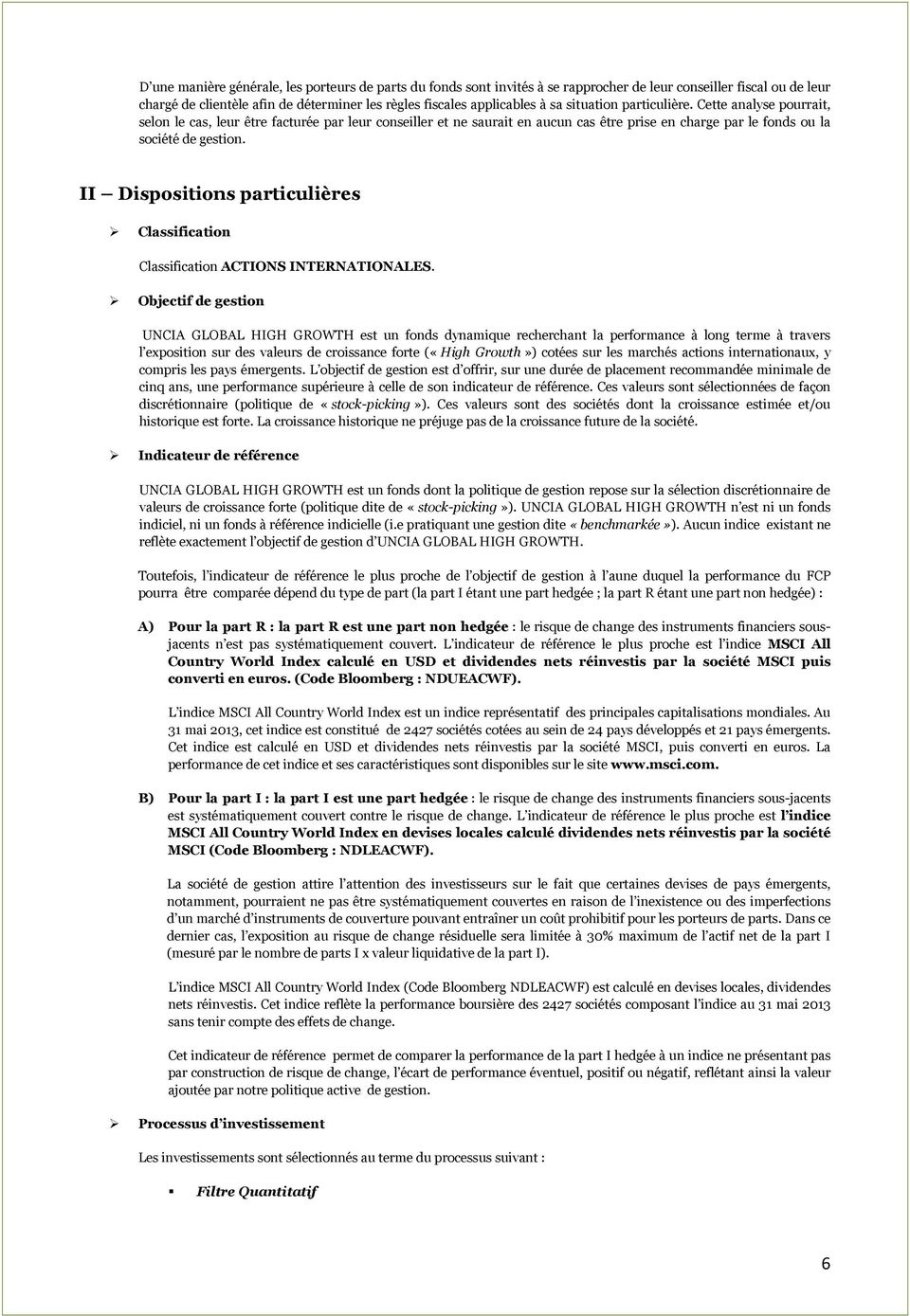 II Dispositions particulières Classification Classification ACTIONS INTERNATIONALES.