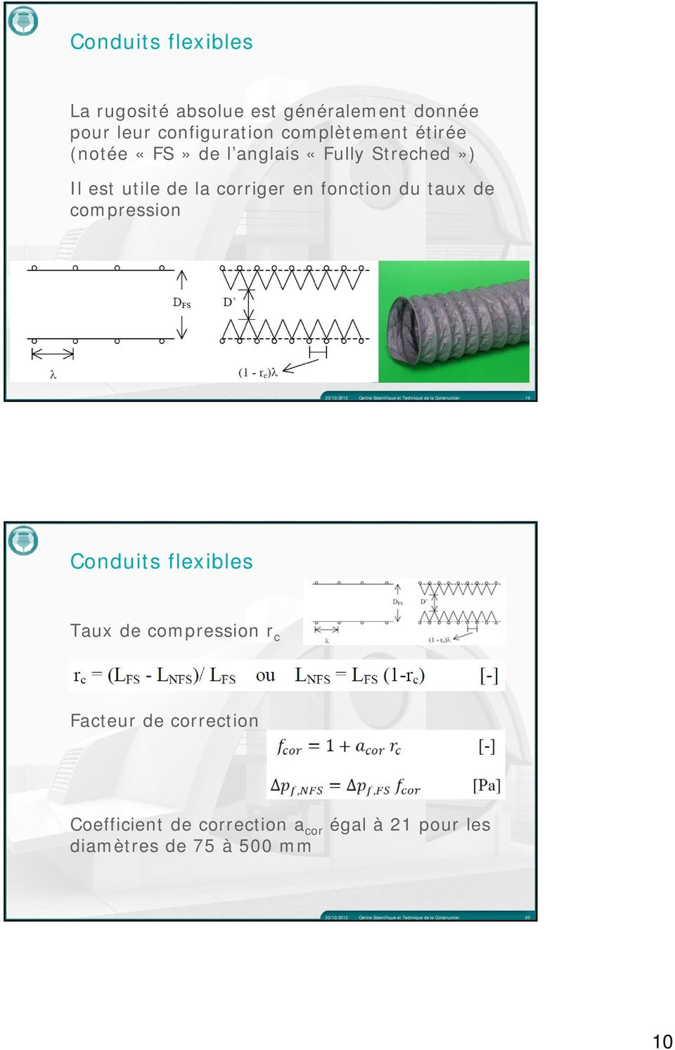 en fonction du taux de compression 19 Conduits flexibles Taux de compression r c Facteur