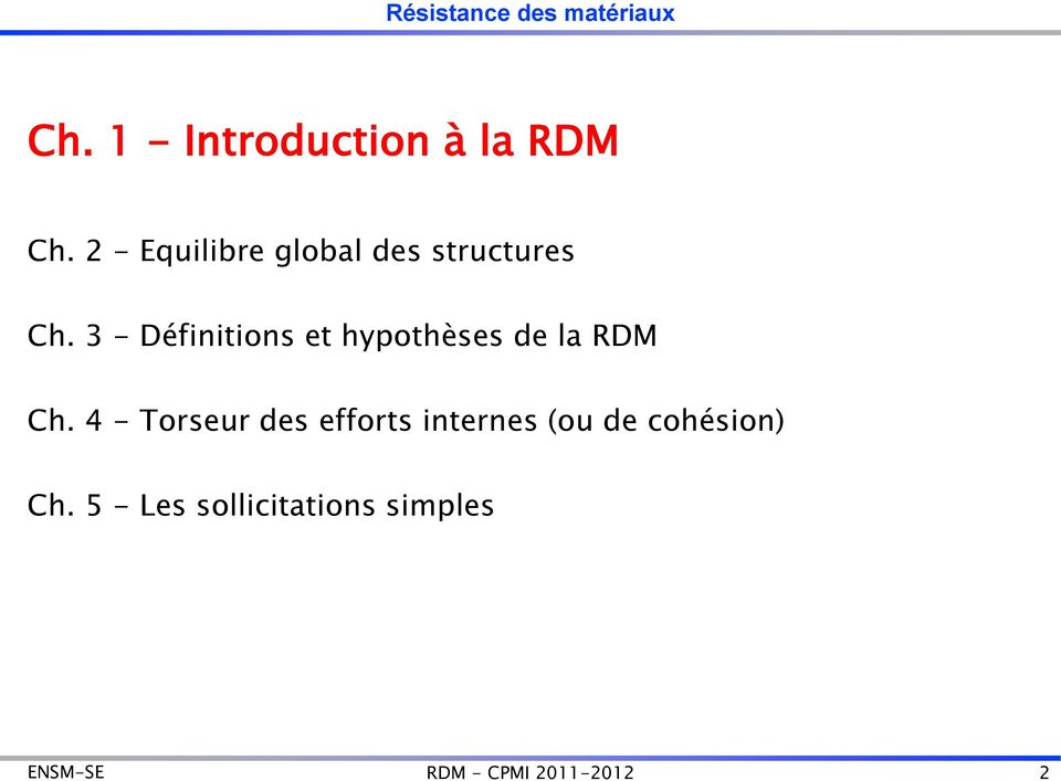 2 - Equilibre global des structures Ch.
