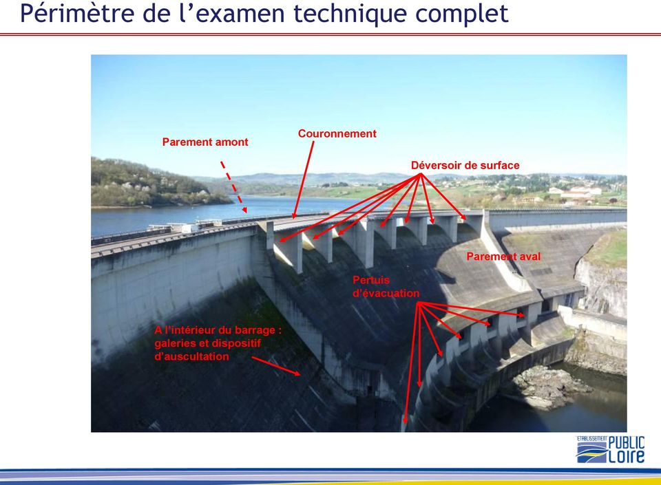 surface Pertuis d évacuation Parement aval A l