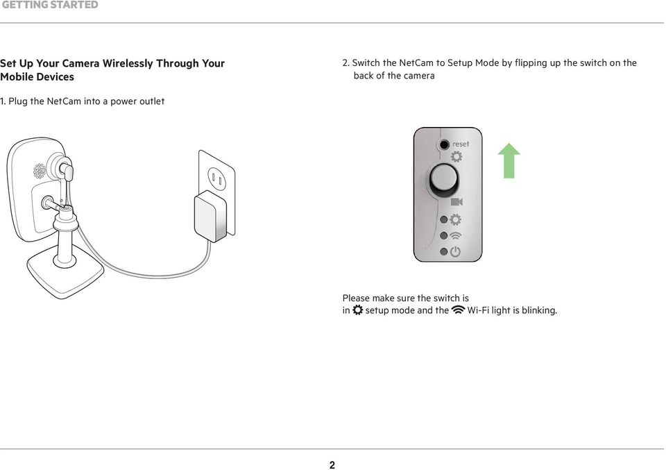 Switch the NetCam to Setup Mode by flipping up the switch on the back