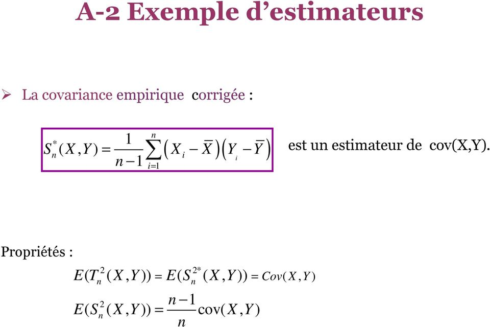 estimateur de cov(x,y).