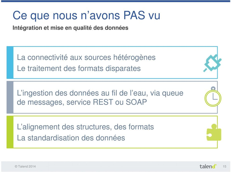 ingestion des données au fil de l eau, via queue de messages, service REST ou