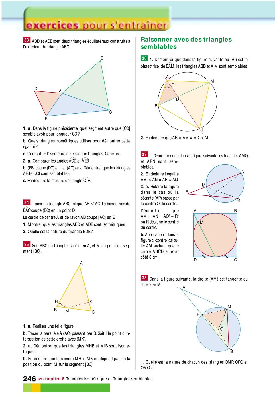 triangles semblables exercices corrigés pdf