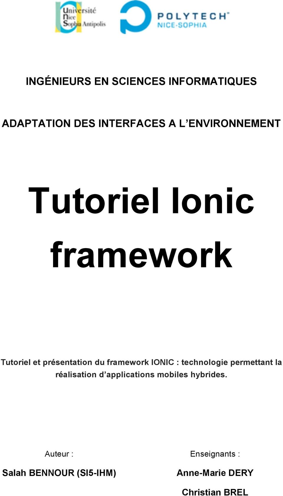 framework IONIC : technologie permettant la réalisation d applications