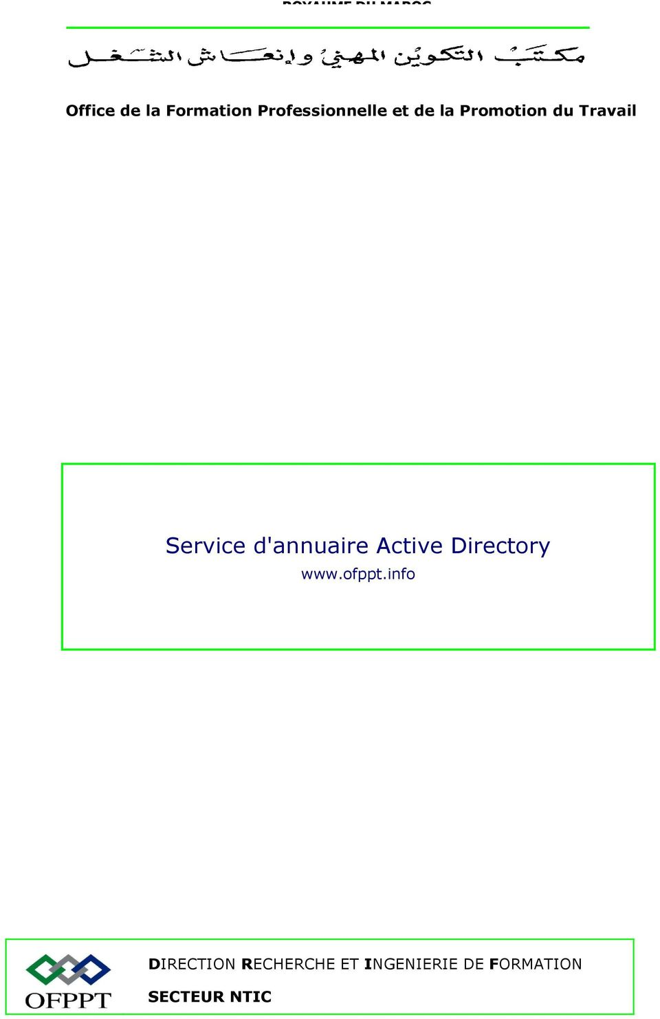 Service d'annuaire Active Directory DIRECTION
