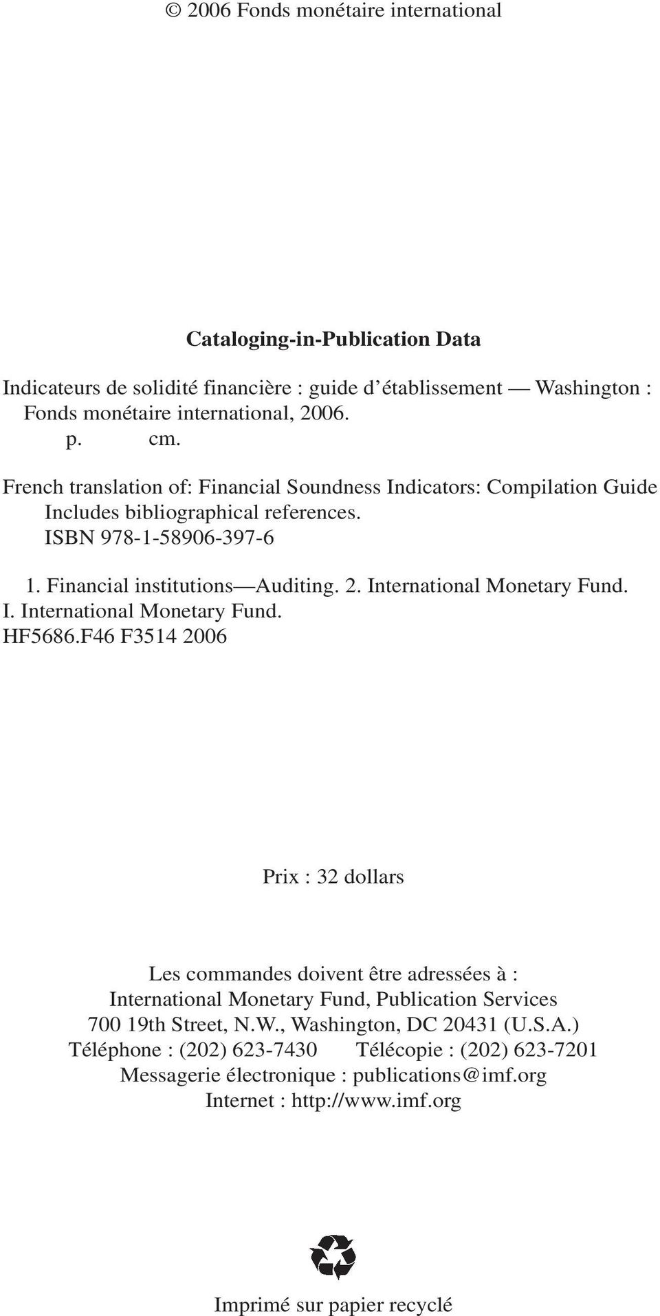 International Monetary Fund. I. International Monetary Fund. HF5686.