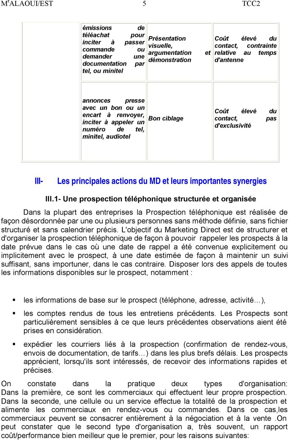 principales actions du MD et leurs importantes synergies III.