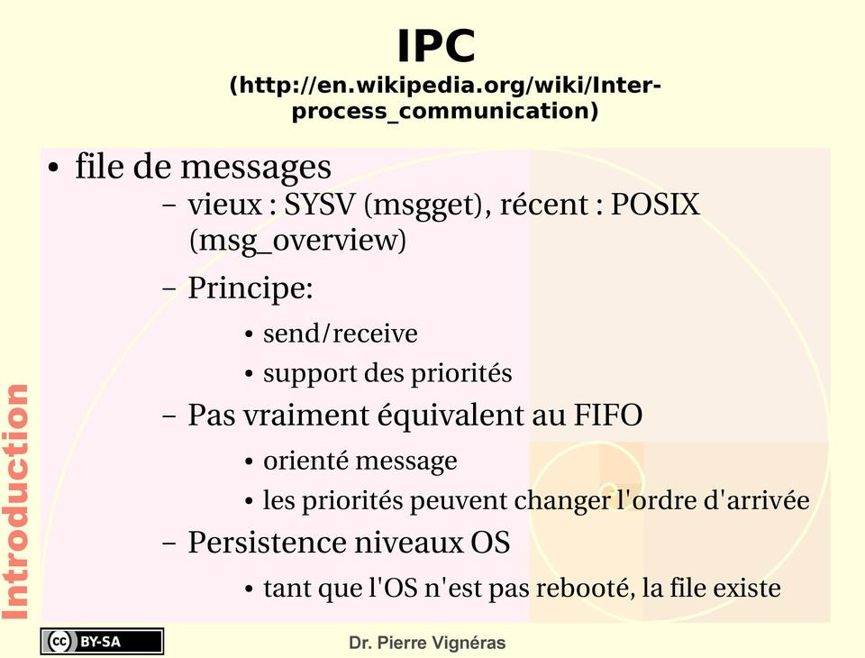POSIX (msg_overview) Principe: Introduction Pas vraiment équivalent au FIFO send/receive