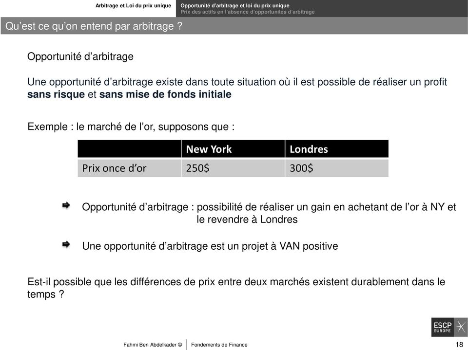 où il est possible de réaliser un profit sans risque et sans mise de fonds initiale Exemple : le marché de l or, supposons que : New York Londres Prix once d or 250$ 300$ Opportunité