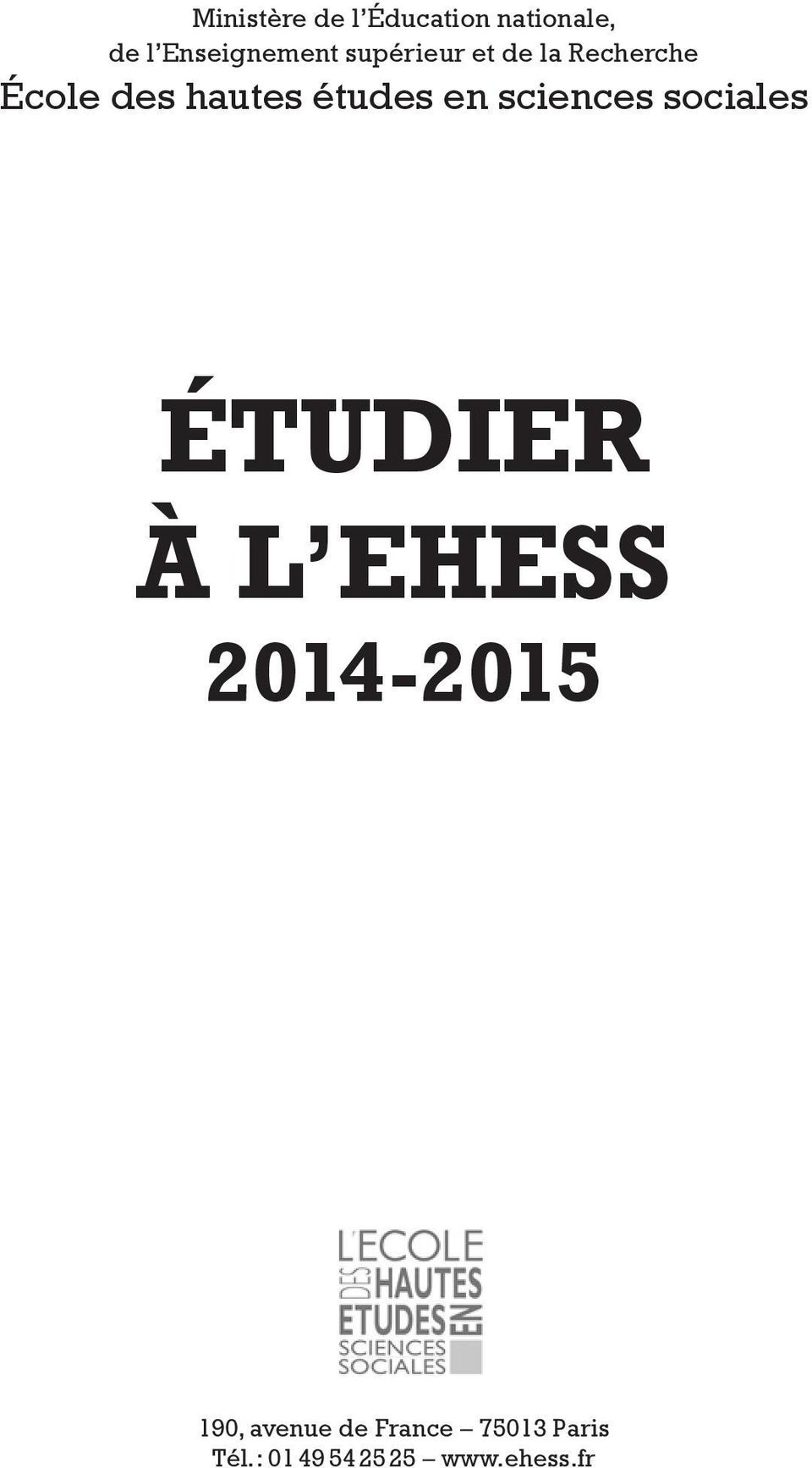 sciences sociales ÉTUDIER À L EHESS 2014-2015 190,