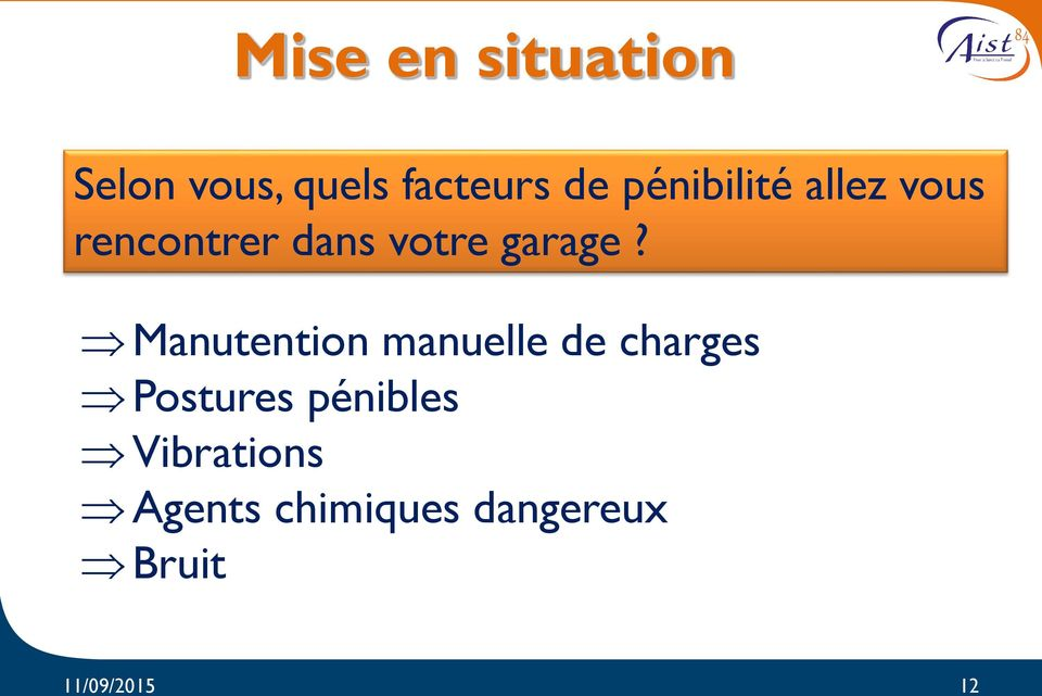 Manutention manuelle de charges Postures pénibles