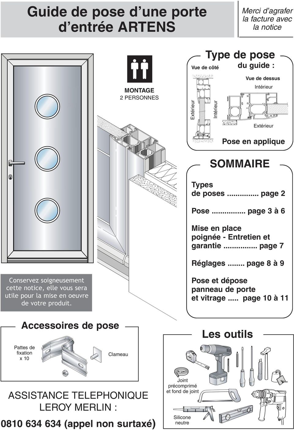 guide de pose d une porte d entr e artens pdf. Black Bedroom Furniture Sets. Home Design Ideas