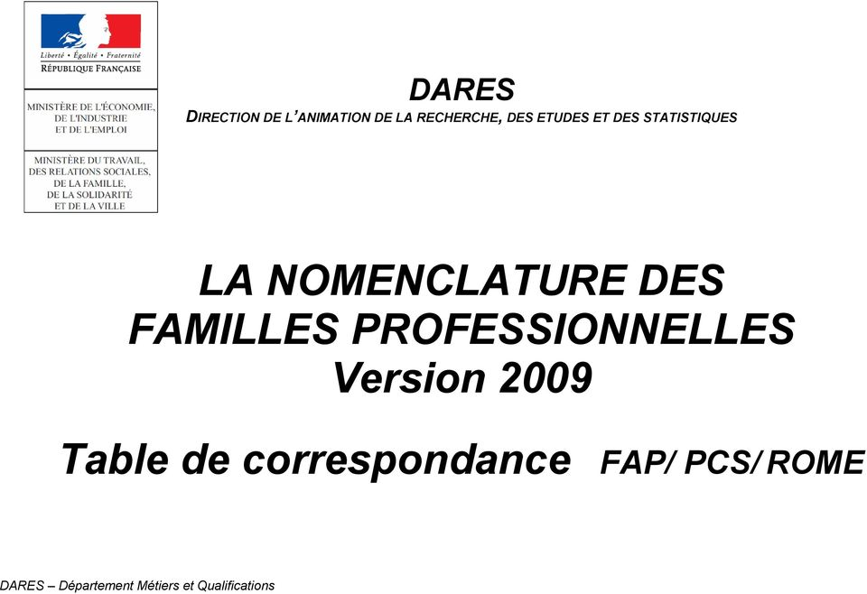 FAMILLES PROFESSIONNELLES Version 2009 Table de