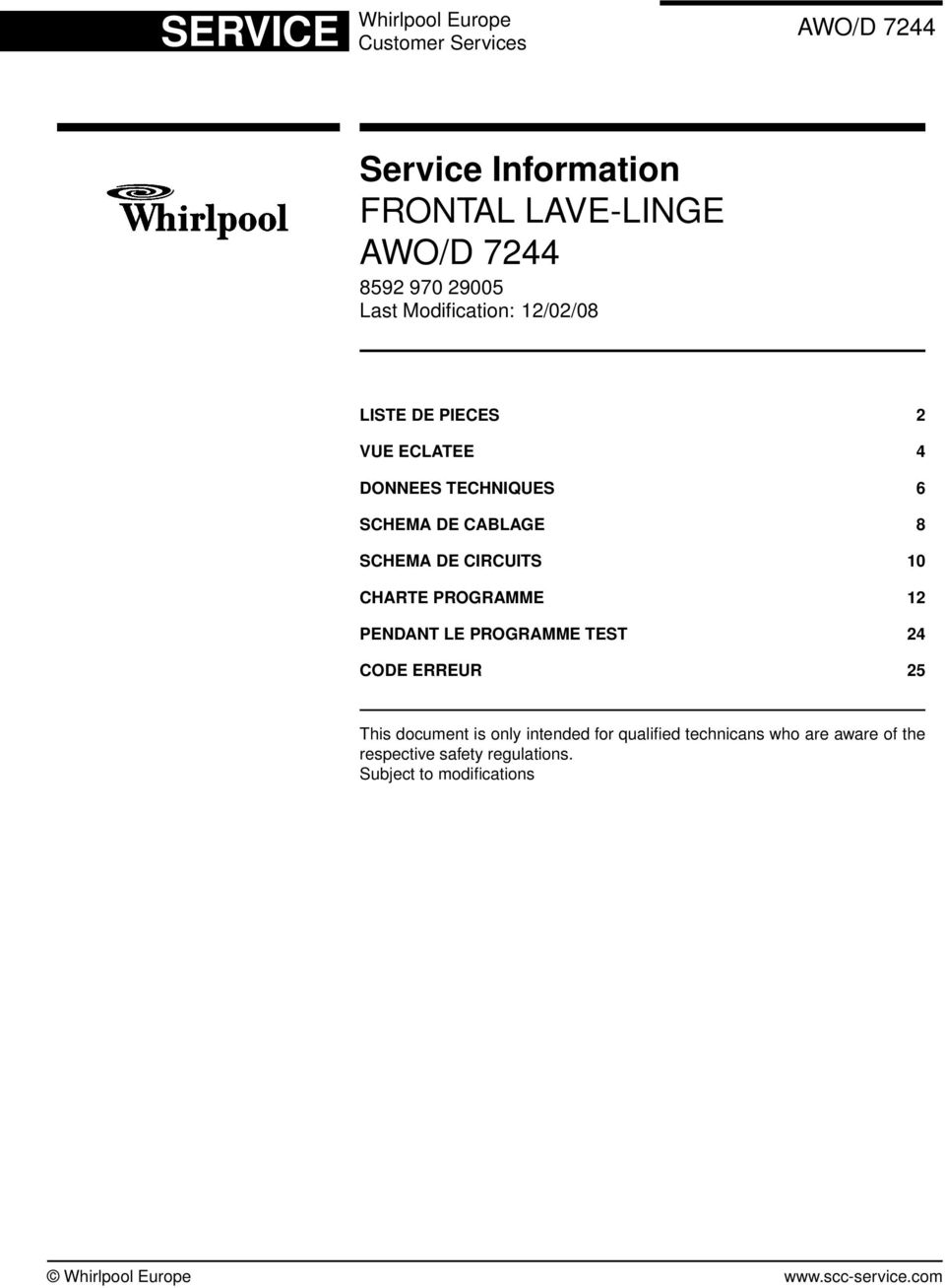 whirlpool europe customer services. service information frontal lave