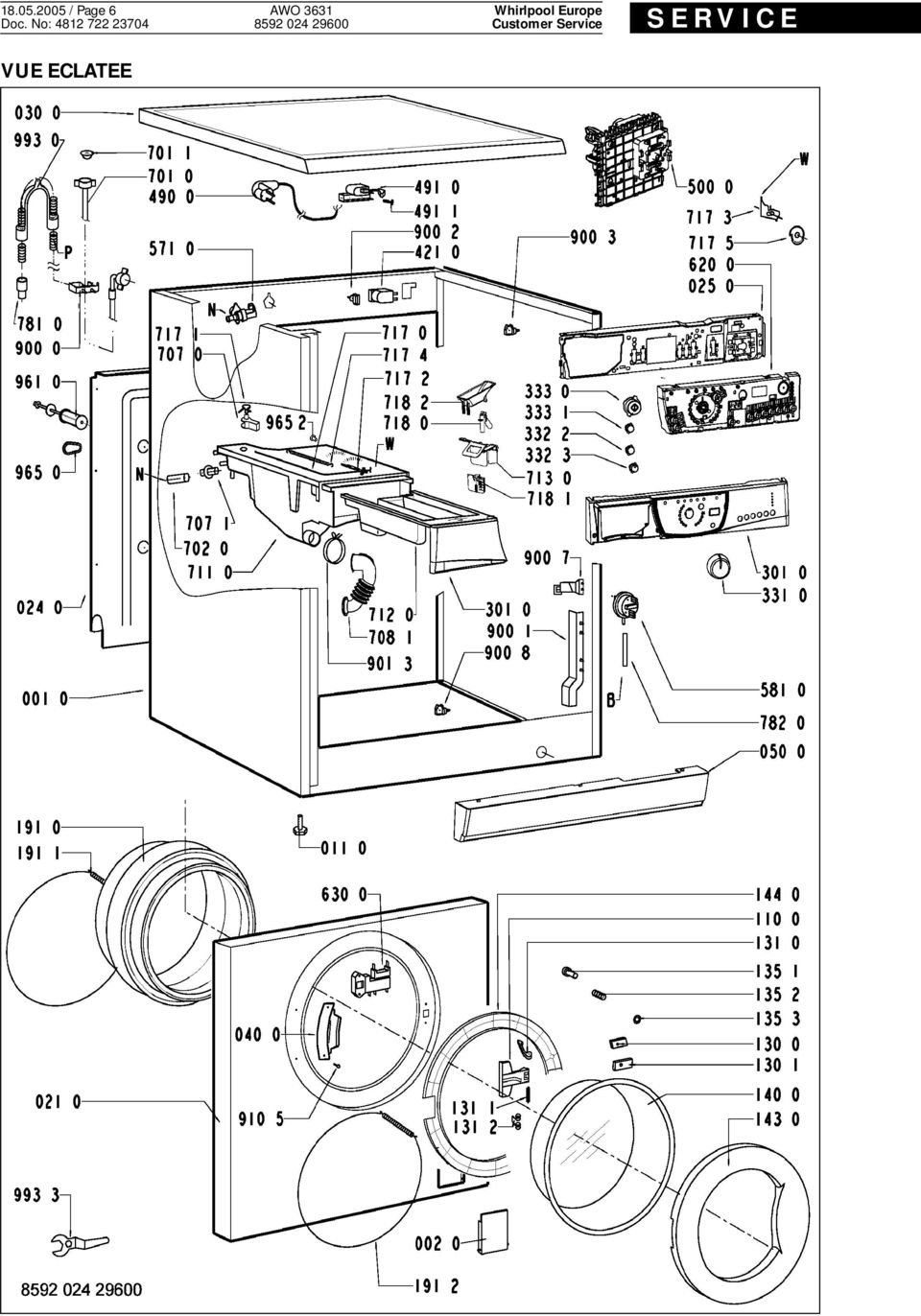 service manual lave-linge frontal