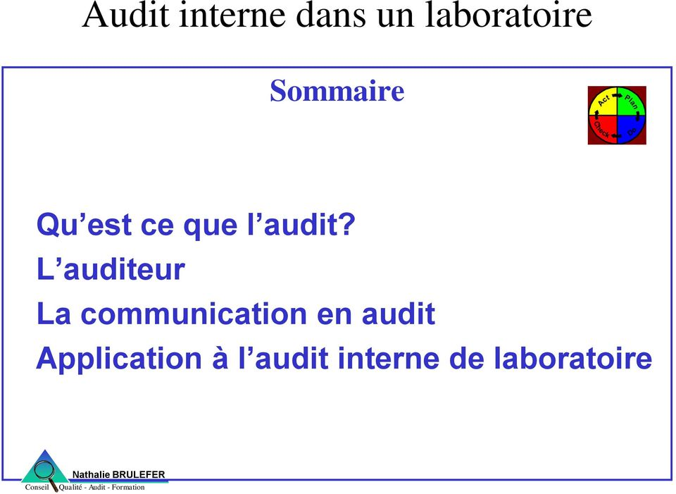 L auditeur La communication en audit
