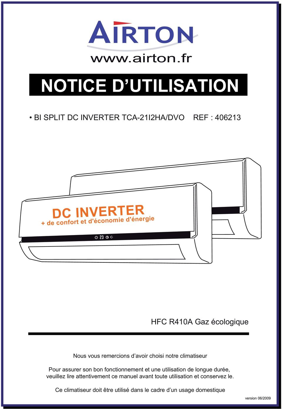 notice d utilisation bi split dc inverter tca 21i2ha dvo ref nous vous remercions d avoir. Black Bedroom Furniture Sets. Home Design Ideas