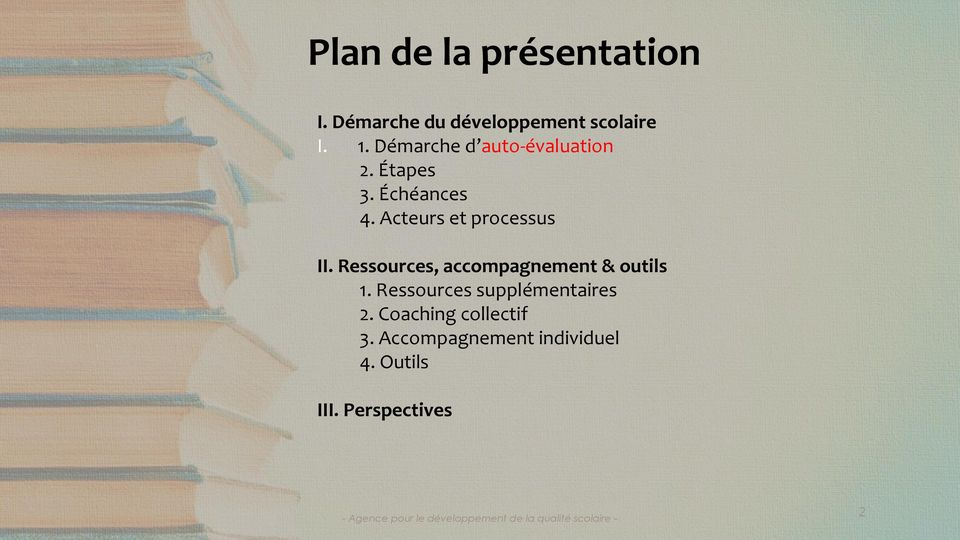 Acteurs et processus II. Ressources, accompagnement & outils 1.