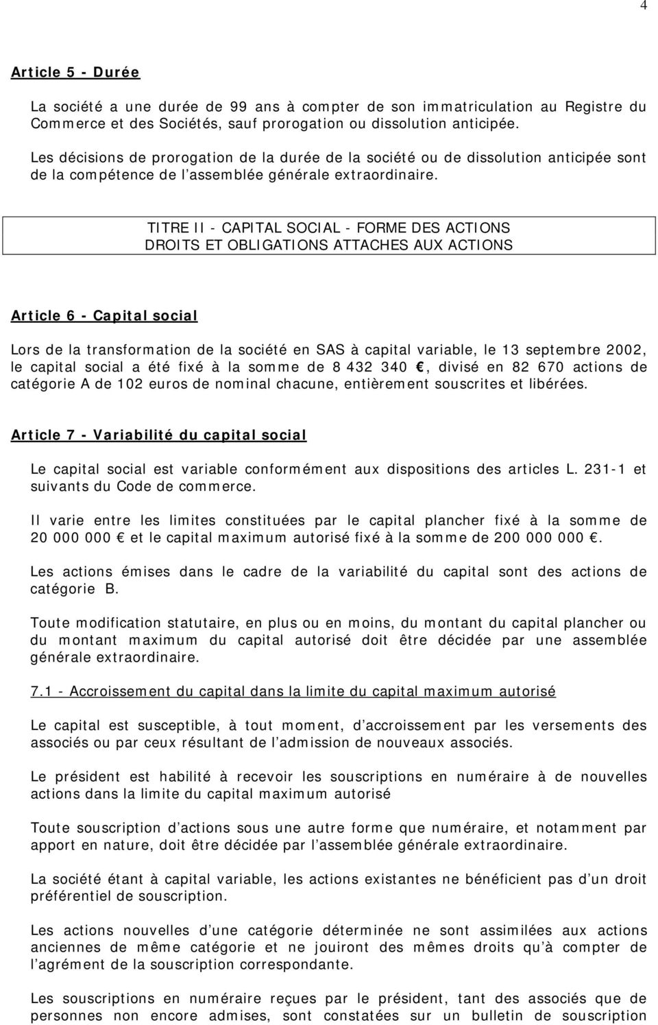 TITRE II - CAPITAL SOCIAL - FORME DES ACTIONS DROITS ET OBLIGATIONS ATTACHES AUX ACTIONS Article 6 - Capital social Lors de la transformation de la société en SAS à capital variable, le 13 septembre