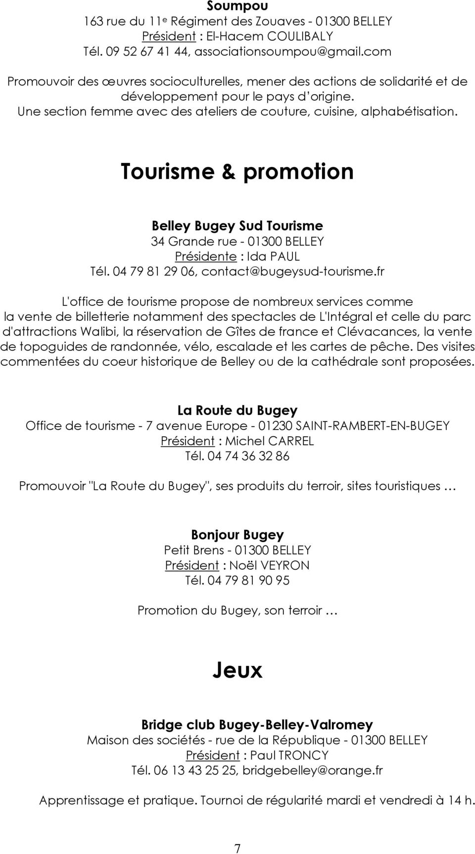 Livret des associations pdf - Office de tourisme belley ...