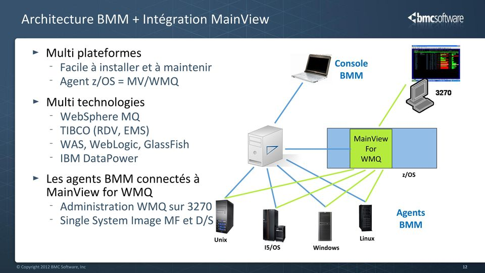 IBM DataPower MainView For WMQ Les agents BMM connectés à MainView for WMQ Administration WMQ sur