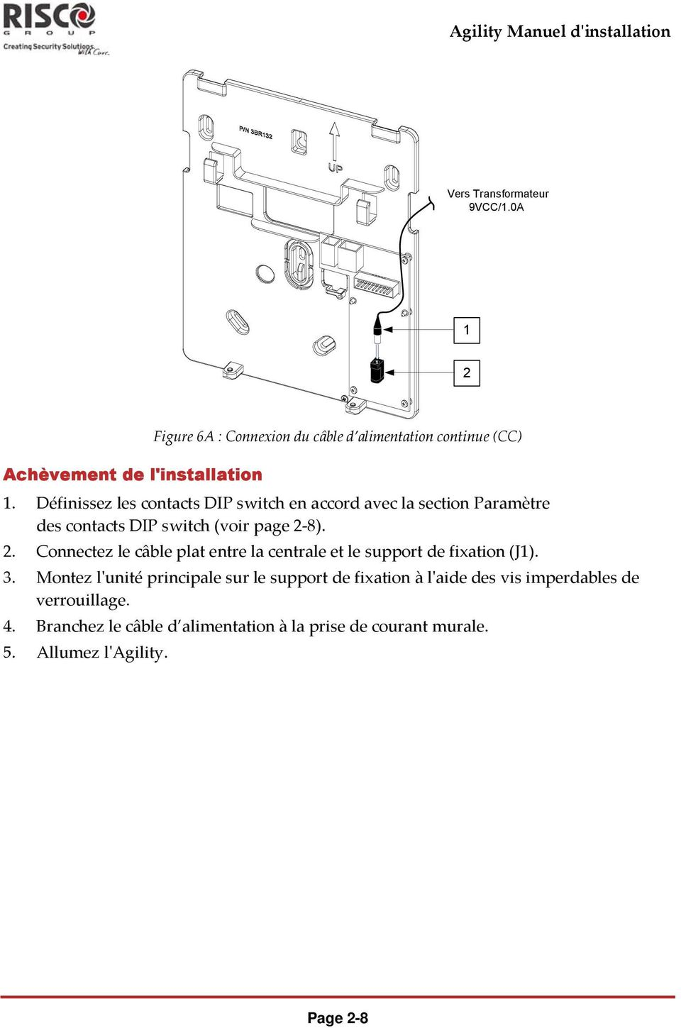 Définissez les contacts DIP switch en accord avec la section Paramètre des contacts DIP switch (voir page 2