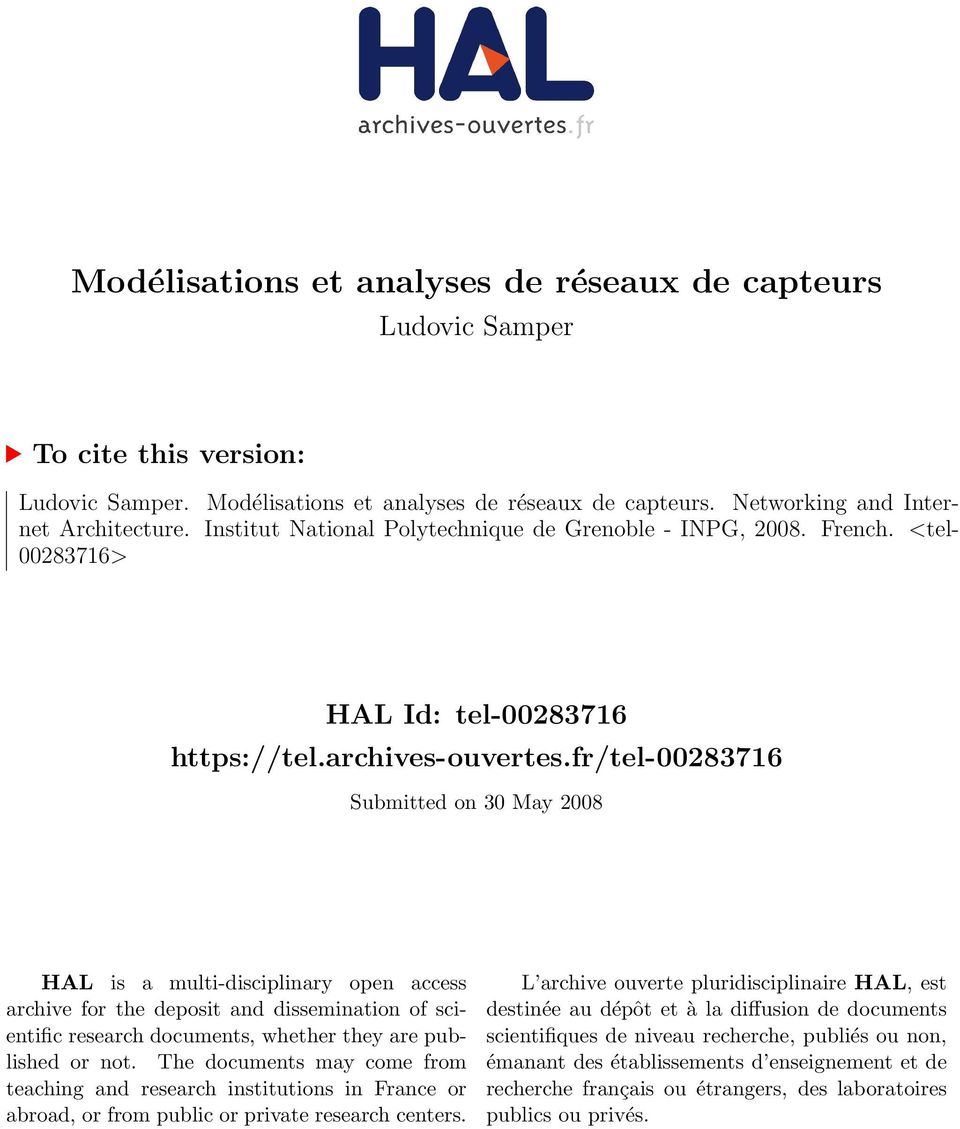 fr/tel-00283716 Submitted on 30 May 2008 HAL is a multi-disciplinary open access archive for the deposit and dissemination of scientific research documents, whether they are published or not.