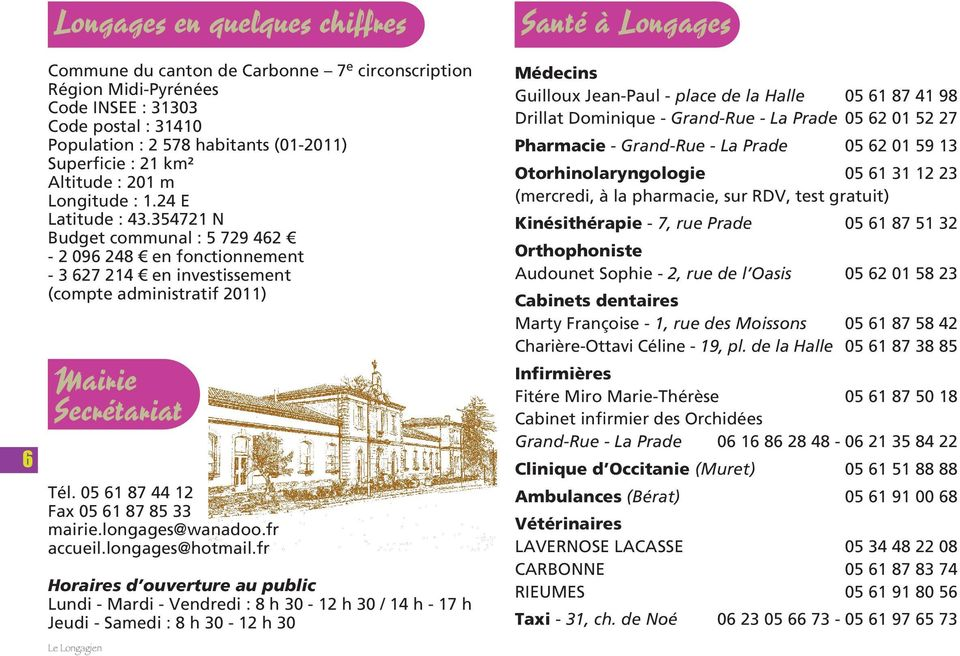 05 61 87 44 12 Fax 05 61 87 85 33 mairie.longages@wanadoo.fr accueil.longages@hotmail.