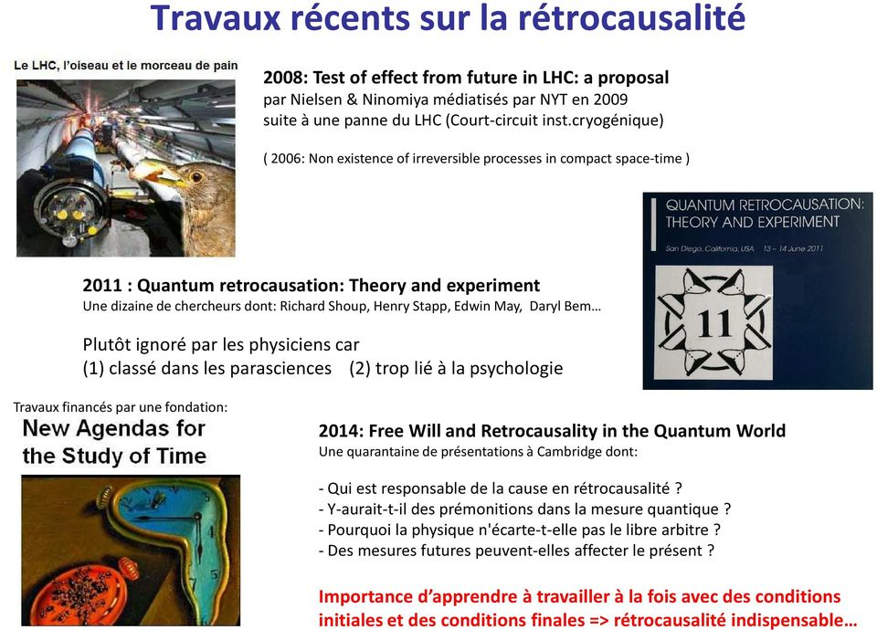 Edwin May, Daryl Bem Plutôt ignoré par les physiciens car (1) classé dans les parasciences (2) trop lié à la psychologie Travaux financés par une fondation: 2014: Free Will and Retrocausality in the