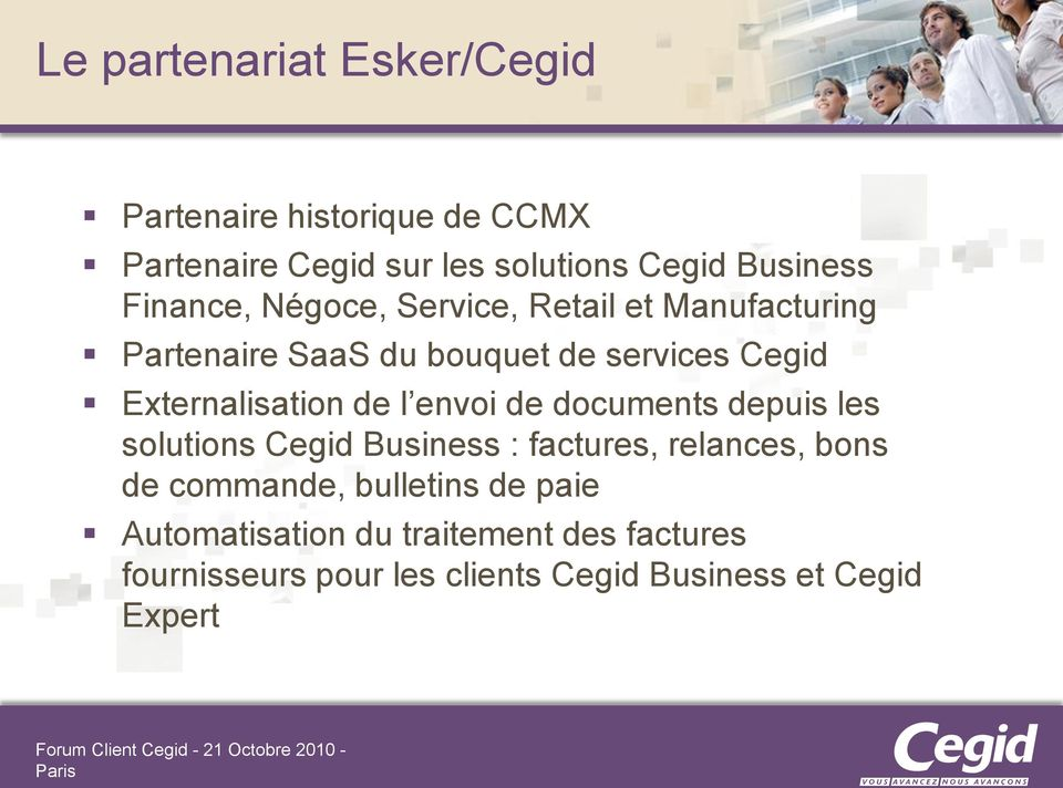 Externalisation de l envoi de documents depuis les solutions Cegid Business : factures, relances, bons de