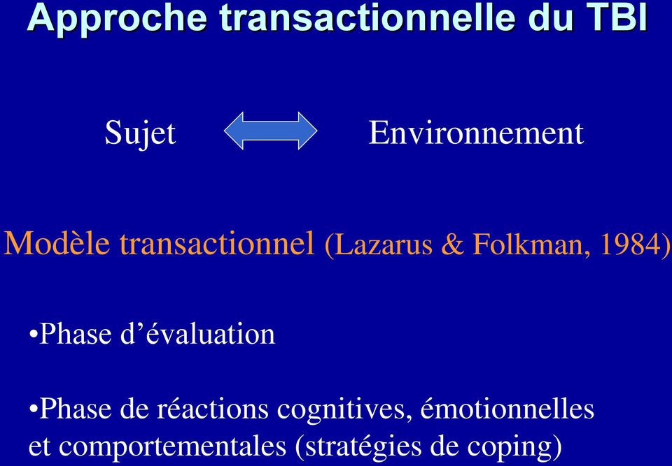 Folkman, 1984) Phase d évaluation Phase de