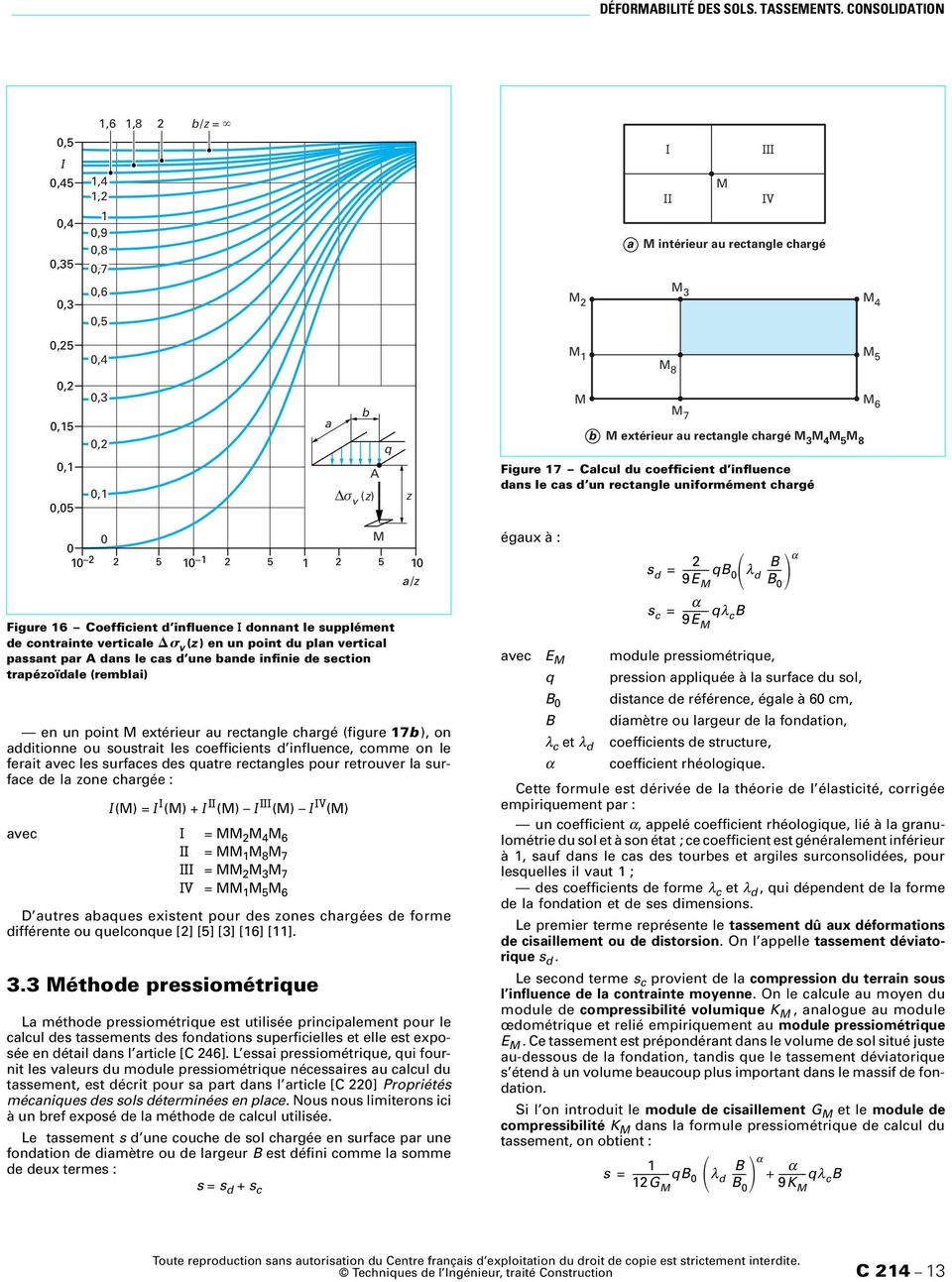 M 3 M 4 M 5 M 8 Figure 7 Calcul du coefficient d influence dans le cas d un rectangle uniformément chargé M 6 2 2 5 Figure 6 Coefficient d influence I donnant le supplément de contrainte verticale v